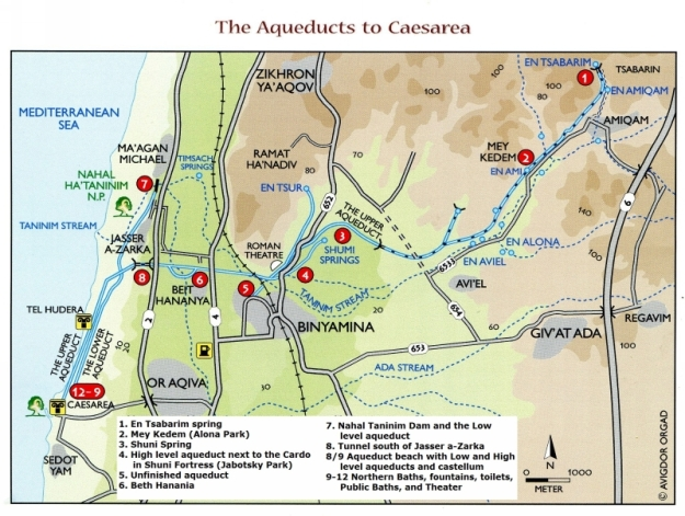 Overview of both Roman aqueducts of Caesarea Maritima: the High level aqueduct (from 1 - 6 - 8 -12) and the Low level aqueduct (7 - 12). From: Tsuk 2011
