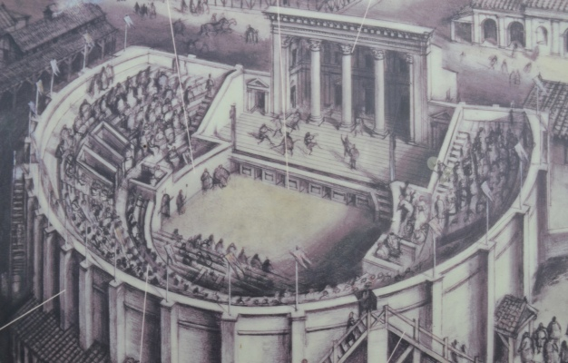 Reconstruction drawing of the Roman Theatre at Verulamium, St Albans © Carole Raddato