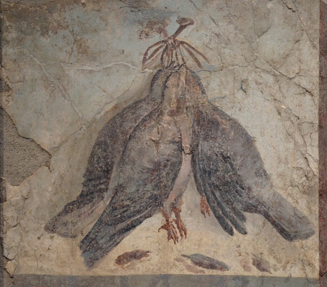 Still life fresco in the Fourth Pompeian Style depicting three hanging birds, from Pompeii, 50-79 AD Empire of colour - From Pompeii to Southern Gaul, Musée Saint-Raymond Toulouse On loan from National Archaeological Museum of Naples Carole Raddato CC BY-SA