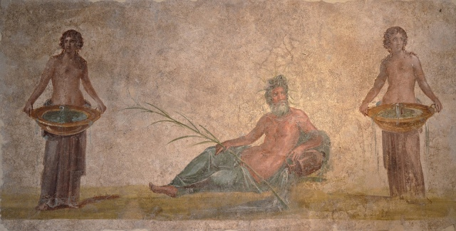 Fresco in the Fourth Pompeian Style depicting the personification of the Sarnus river with two Nymphs, from a wall in the House of the Vestals at Pompeii, 50-79 AD Empire of colour - From Pompeii to Southern Gaul, Musée Saint-Raymond Toulouse On loan from Louvre, Paris Carole Raddato CC BY-SA