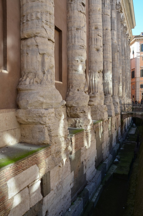 The stylobate of the Hadrianeum, the stepped platform on which colonnades of temple columns were placed, the temple precinct was 5 meter below the present floor level, Temple of Deified Hadrian (Hadrianeum), Campus Martius, Rome © Carole Raddato