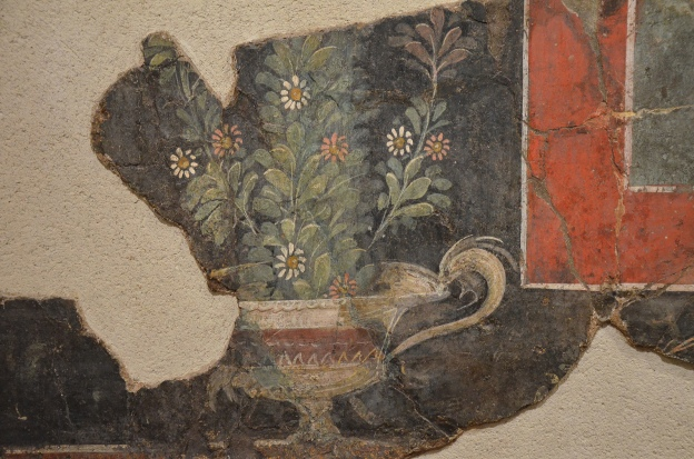 Fresco fragment in the Third Pompeian Style with cantharus from Vienna (Vienne), 2nd half of 1st century AD, Empire of colour. From Pompeii to Southern Gaul, Musée Saint-Raymond Toulouse © Carole Raddato
