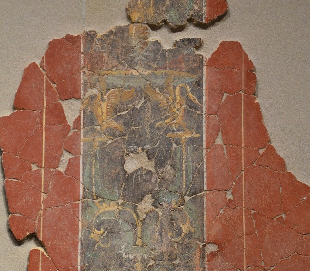 Fresco fragment in the Third Pompeian Style with candelabra and two swans, from the cubiculum of the Roman Domus in Arausio (Orange), 2nd half of 1st century AD, Empire of colour. From Pompeii to Southern Gaul, Musée Saint-Raymond Toulouse © Carole Raddato