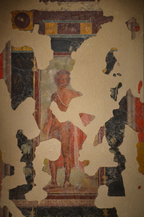 Fresco depicting Bacchus, discovered at the Villa de Roquelaure, dating to around 20 BC Empire of colour- From Pompeii to Southern Gaul, Musée Saint-Raymond Toulouse On loan from Musée des Jacobins d'Auch Carole Raddato CC BY-SA
