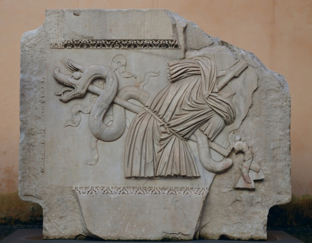 Trophies of war (captured Dacian Draco) relief from the Hadrianeum, a temple of the deified Hadrian in the Campus Martius erected by Antoninus Pius in 145 AD, Capitoline Museum © Carole Raddato