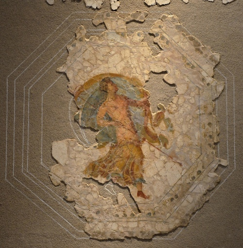 Fresco depicting a menead carrying a thyrsus, from a ceiling of a domus in Colonia Narbo Martius (Narbonne), end of 1st century AD Empire of colour. From Pompeii to Southern Gaul, Musée Saint-Raymond Toulouse On loan from Narbonne Archaeological Museum Carole Raddato CC BY-SA