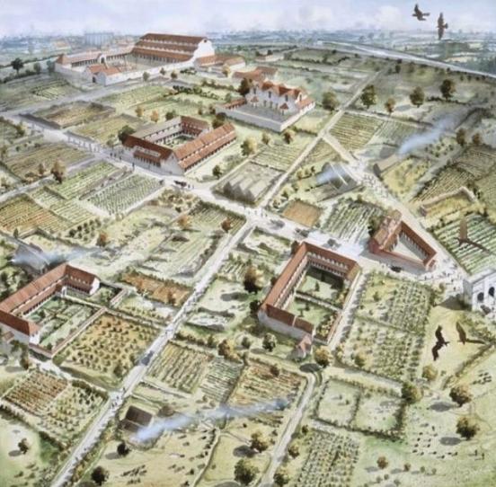 Verulamium alrededor de 300 AD mostrando grandes casas de la ciudad, rodeado de jardines (Impresión artística de Verulamium por John Pearson)