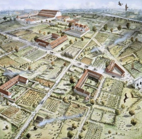 Verulamium about 300 AD showing large town houses surrounded by gardens (Artist impression of Verulamium by John Pearson)