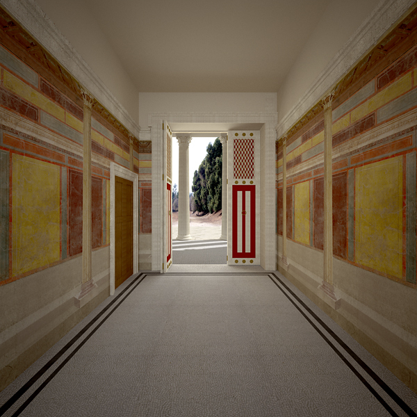 Computer reconstruction of the Villa at Boscoreale undertaken for the Metropolitan Museum of Art in New York. View of room C, the entry to the villa, facing south into the entry courtyard. Infographic James Stanton-Abbott