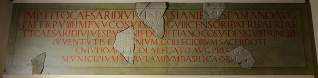 The reconstructed Basilica inscription, dated to 79 or 81 AD, Verulamium Museum, St Albans © Carole Raddato