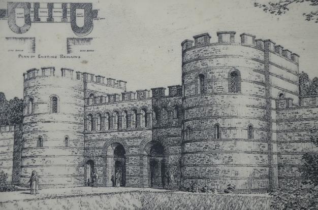 Reconstruction of the London Gate, Verulamium, St Albans (P.M. Andrews)