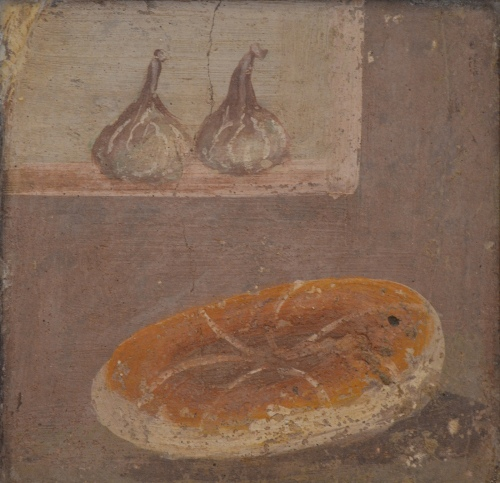 Fresco showing a piece of bread and two figs, from Pompeii, Naples National Archaeological Museum Carole Raddato CC BY-SA