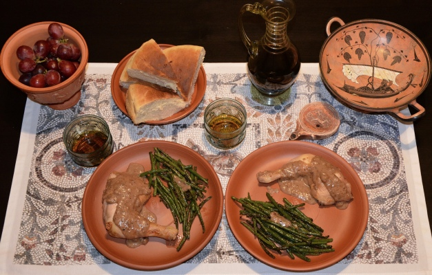 Pullum Numidicum (Numidian Chicken) accompanied with Conchicla Cum faba (Beans with Cumin) and served with Hapalos Artos (soft bread)