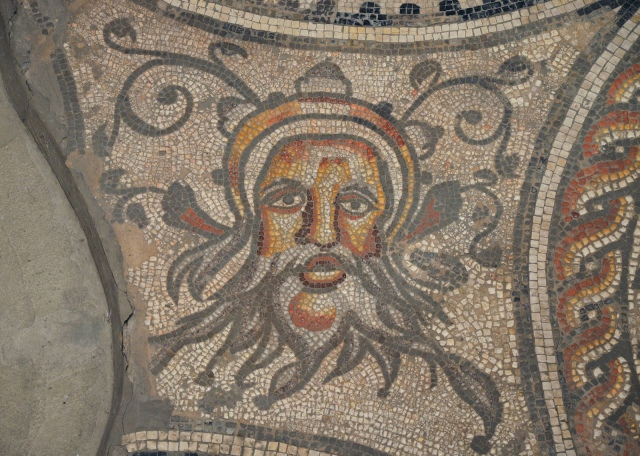 The Hunting Dogs Mosaic, detail of Oceanus, Corinium Museum, Cirencester Carole Raddato CC BY-SA
