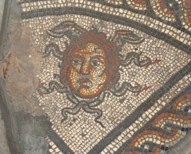 The Hunting Dogs Mosaic, detail of Medusa head, Corinium Museum, Cirencester Carole Raddato CC BY-SA