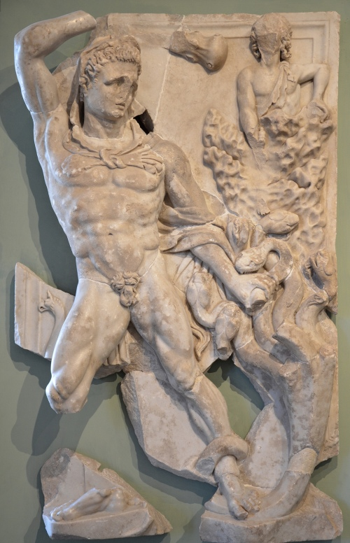 The Labours of Hercules, marble relief discovered at the site of the Roman villa of Chiragan, Hercules and the Lernaean Hydra (2nd labour), end of 3rd century AD, Musée Saint-Raymond Toulouse Carole Raddato CC BY-SA