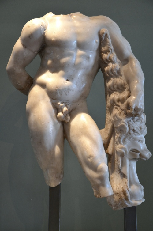 Marble statue of Hercules leaning on his club, which has the skin of the Nemean lion draped over it, 2nd - 3rd century AD, Villa Chiragan, MSR, Musée Saint-Raymond Carole Raddato CC BY-SA