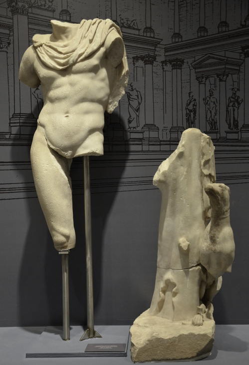 Statue of Androclus, the mythical founder of the city of Ephesus depicted with his dog as a hunter, 2nd century AD, from the fountain of Trajan, Ephesus Museum, Selçuk, Turkey