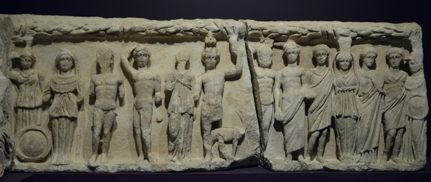 Original frieze slab from the Temple of Hadrian portraying various divinities and Androclus and his dog, Ephesus Museum, Selçuk, Turkey Carole Raddato CC BY-SA