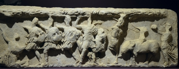 Original frieze slab from the Temple of Hadrian depicting Amazons, Pan, Dionysos, Satyrs and a Menead, Ephesus Museum, Selçuk, Turkey Carole Raddato CC BY-SA