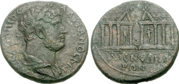 Ephesos (AD 117-138) AE 32 - Hadrian Hadrian, 117-138 AD. AE32 (24.87g, 6h). Laureate and draped bust right / Two temples, each containing standing male figure holding scepter, viewed in perspective, vis-à-vis; Π and Δ in pediments.  © 2004-2014 AsiaMinorCoins.com