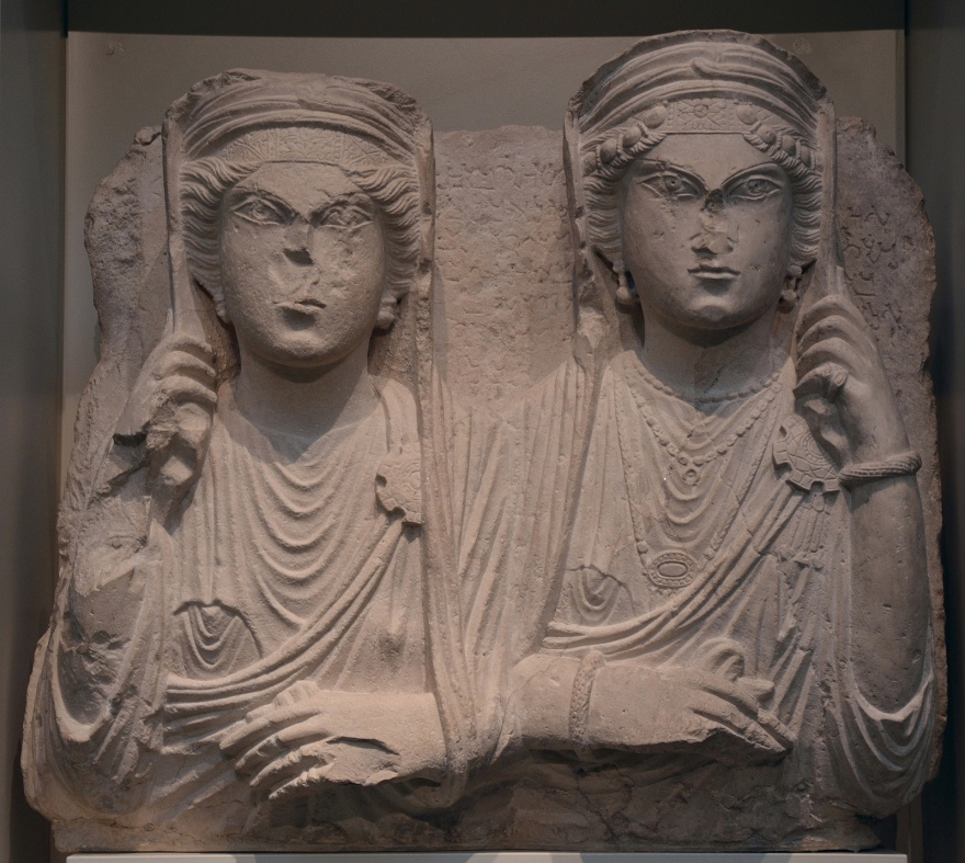 Funerary bust showing two veiled women wearing robes, from Palmyra, Syria, AD 217 British Museum Carole Raddato CC BY-SA