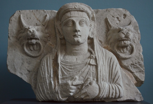 Limestone portrait of a Palmyrene lady, the lion's head door knockers symbolize the entrance to the world of the dead, c. 120 AD Ny Carlsberg Glyptotek, Copenhagen Carole Raddato CC BY-SA