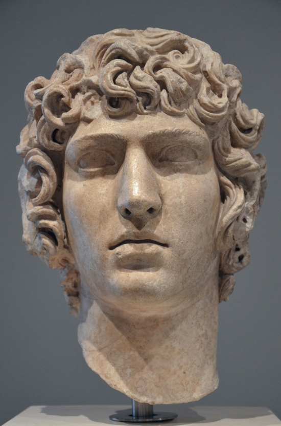 Art and sculptures from Hadrian's Villa: Marble head of Antinous
