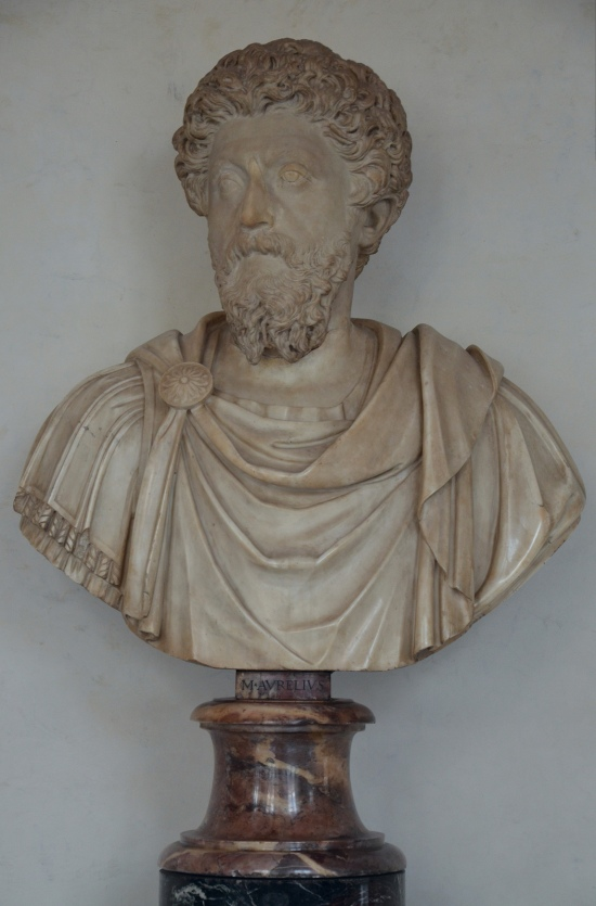 Marble bust with the head of Marcus Aurelius, end of 2nd century AD, Galleria degli Uffizi, Florence Carole Raddato CC BY-SA