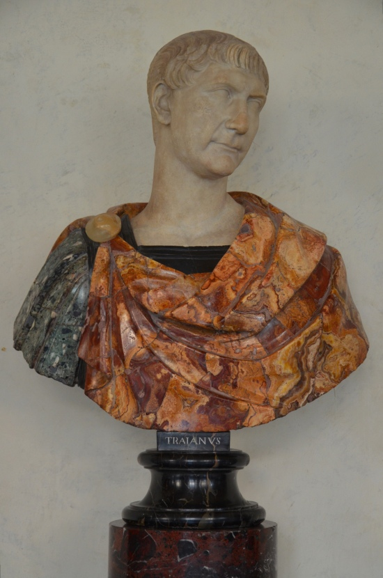 Trajan, Greek marble and oxyx, ca. 110 AD, the bust is a modern work, Galleria degli Uffizi, Florence Carole Raddato CC BY-SA