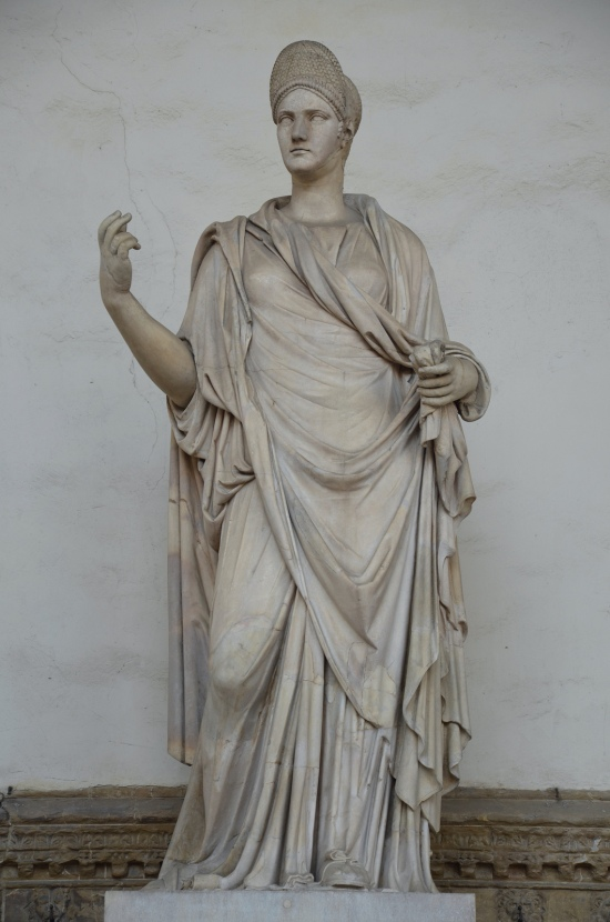 "Statue of a Roman lady, so-called ""Sabina"", with a portrait of Matidia, 2nd century AD with modern restorations, Loggia dei Lanzi, Florence Carole Raddato CC BY-SA"