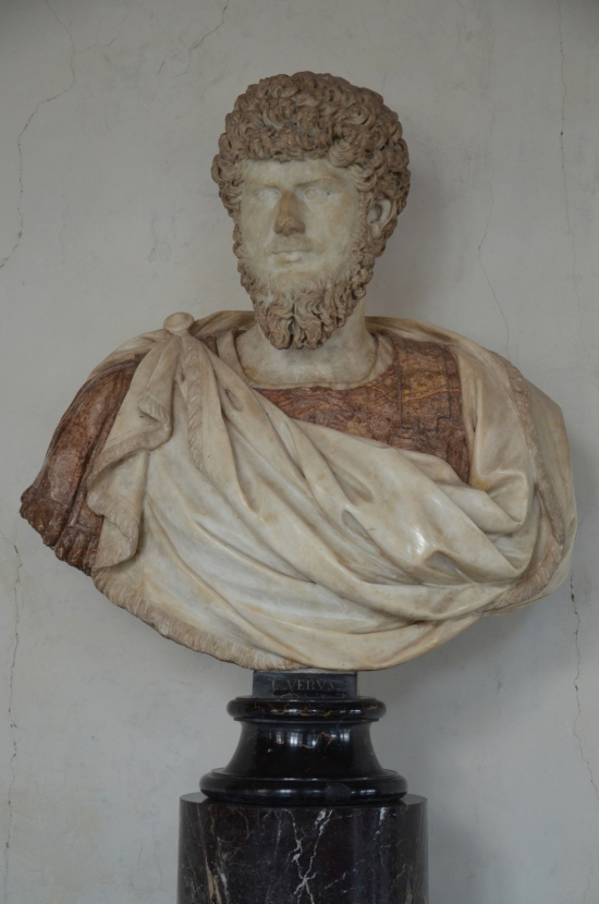 Modern marble bust with the head of Lucius Verus, 2nd half of 2nd century AD, Galleria degli Uffizi, Florence Carole Raddato CC BY-SA