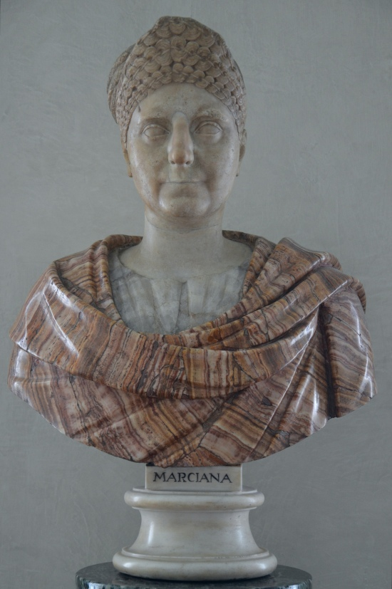 Portrait of an ederly woman inspired by the iconography of Marciana (sister of Trajan), 98 - 117 AD, Greek marble (head) and red onyx (bust),  Galleria degli Uffizi, Florence Carole Raddato CC BY-SA