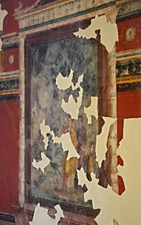 """The upper cubiculum so-called """"Emperor's Study"""", South wall with central panel depicting a scene of worship with a sacred landscape Carole Raddato CC BY-SA"""