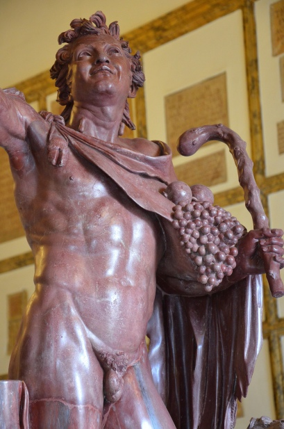 """Detail of the """"Fauno rosso"""", a red-marble statue depicting a drunken satyr, Hadrianic copy of a Greek original from the late Hellenistic, from Hadrian's Villa, Palazzo Nuovo, Capitoline Museums"""