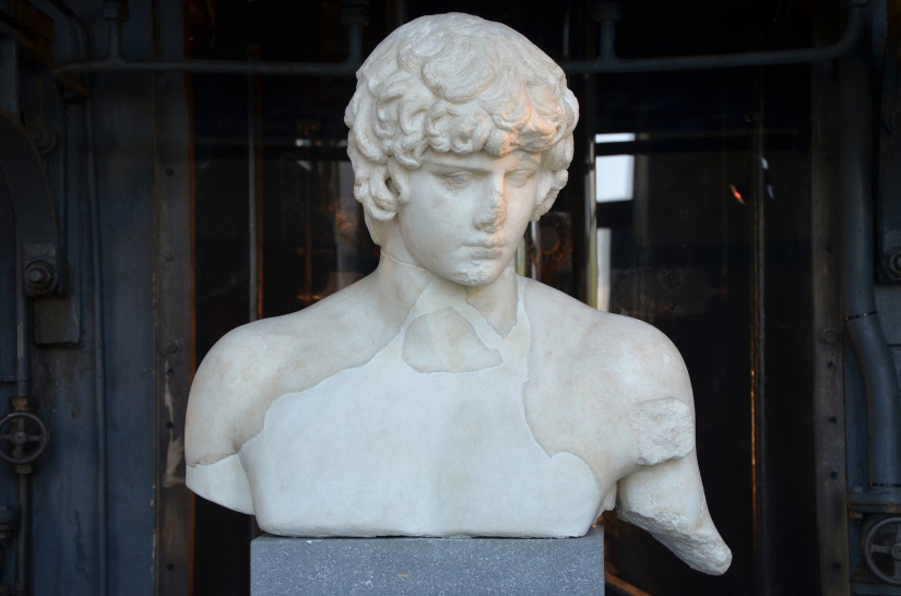 Part of a statue of Antinous depicted as Apollo, 130-138 AD, from the Via dei Fori Imperiali Centrale Montemartini, Rome