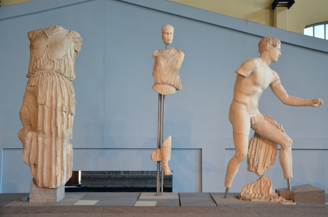 The reconstructed pediment of the Temple of Apollo Sosianus with sculptures narrating the battle between the Greeks and the Amazons, Centrale Montemartini, Rome museum. Photo © Carole Raddato.