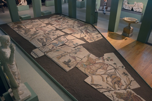 Mosaic with hunting scenes, from the Horti Liciniani, early 4th century CE Centrale Montemartini, Rome museum. Photo © Carole Raddato.
