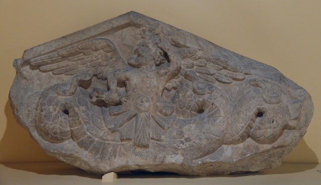 Pediment with Triton, 1st century BCE, from a funerary building on the Via Salaria Centrale Montemartini, Rome museum.