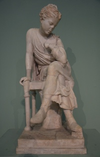 Seated girl, Roman copy of the Hadrianic period after a Greek original of the school of Lysippos or a Roman creation, from the Horti Liciniani Centrale Montemartini, Rome