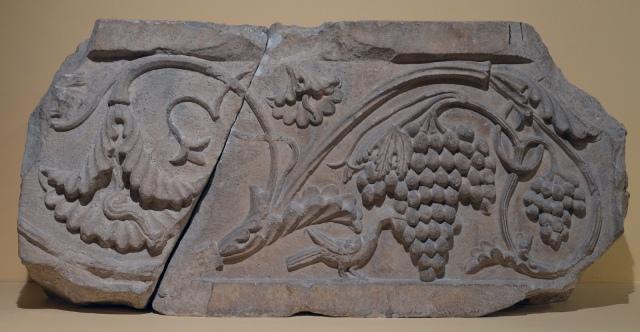 Pediment with Triton, 1st century BCE, from a funerary building on the Via Salaria, Centrale Montemartini, Rome museum. Photo © Carole Raddato.