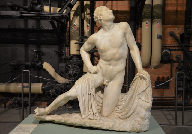 Statue of one of Niobe's sons who were killed by Artemis and Apollo, Roman copy after an early Hellenistic statue belonging to a sculptural group, from the Horti of Caesar in Trastevere Centrale Montemartini, Rome museum. Photo © Carole Raddato.