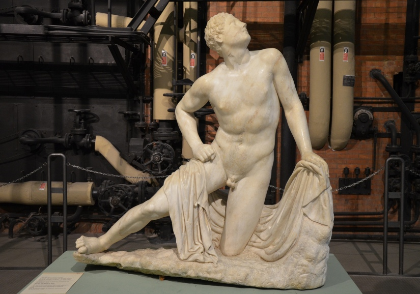 Statue of one of Niobe's sons who were killed by Artemis and Apollo, Roman copy after an early Hellenistic statue belonging to a sculptural group, from the Horti of Caesar in Trastevere Centrale Montemartini, Rome
