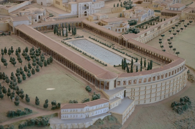 Model of Hadrian's Villa showing the Pecile, where the sculpture of Praxilla was found