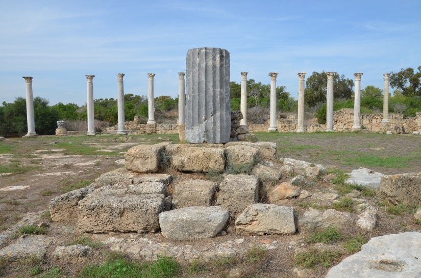 The centre of the Gymnasium's palaestra with the marble column, Salamis