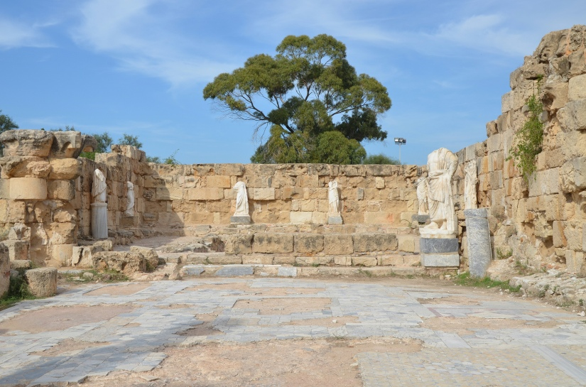 Marble pool at NE corner of the Gymnasium's portico surrounded by headless statues dating back to the 2nd century AD (Trajanic/Hadrianic), Salamis