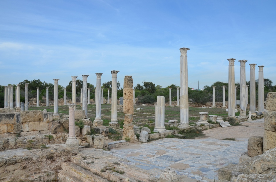 The Gymnasium with its columned palaestra, built over the ruins of an ealier Hellenistic gymnasium in the 2nd century AD during Trajan and Hadrian's reign after Salamis had been greatly damaged in 116 AD during Jewish revolt, Salamis