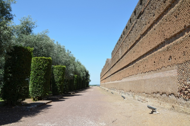 The long wall of the porticus of the Pecile, Hadrian's Villa, Tivoli, where the sculpture of Praxilla was found