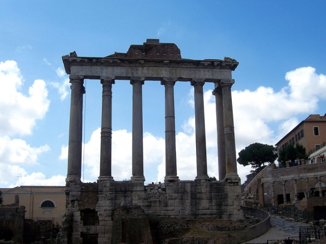 The Temple of Saturn in the Roman Forum, Rome. Saturnalia