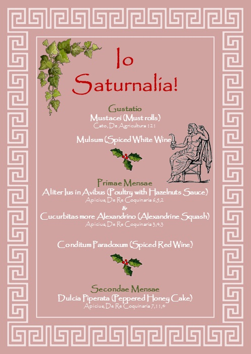 My Saturnalia feast menu